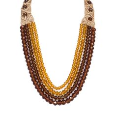 Buy Brown and Yellow Four Crystal Strings Necklace Online| Beyondgallery.Com