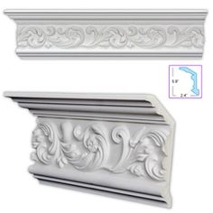 This beautiful crown molding features a scrolling leaf design and is commonly used with to ceilings. This scrolling leaf molding can be coped, mitered, cut and installed just like a wood product and arrives pre-primed white. Orac Decor, Living Room Decor Country, Classic Ceiling, Pop Design, Leaf Design, Design Lab, Sketch Design, Design Concepts, Graphic Design