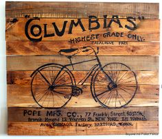 pallet art. This also gives me an idea (from a comment on that blog): wood burning on pallet wood.