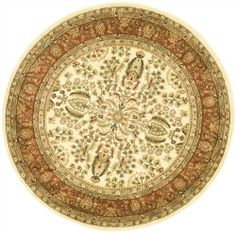 "5'3"" x 5'3"" Round Oscar Isberian Rugs Area Rug Ivory/Rust Color Machine Made Turkey ""Lyndhurst Collection"" by Oscar Isberian Rugs. $130.92. Traditional Style. Dimensions: 5'3"" x 5'3"" Round, Pile Height: 0.25"". Machine Made Polypropylene, Made in Turkey. Oscar Isberian Rugs' Lyndhurst collection offers the beauty and painstaking detail of traditional Persian and European styles with the ease of polypropylene. With a symphony of florals, vines and latticework deta..."