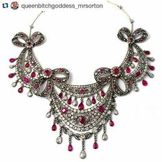 Now who wouldn't want to wear this fabulous gorgeousness?? C.1800 Had to share as soon as I saw it.... #antiquejewelry #lovegoldlive #magnificent #inspiration #finejewelry #necklace #antiquejewellery #lovegold #diamonds #ruby #history #georgianjewelry #victorian #jewelry #jewellery