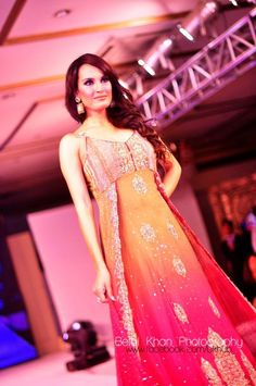gorgeous #desi outfit with orange to pink ombre