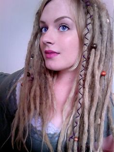 Open wrapped and beaded dreadlocks.