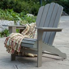 Eco-Friendly Eucalyptus Wood Outdoor Adirondack Chair in Driftwood Finish