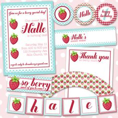 Strawberry Birthday or Shower Party Pack JPEG (Invitation, Cupcake Topper and Wrapper, Bottle and Food Label, Thank You, Treat Bags, Banner)