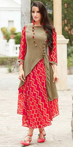 Buy Stylish Pink Designer Printed Georgette Kurti at Rs. latest Partywear Kurti for womens at Ethnic Factory. Salwar Designs, Blouse Designs, Pakistani Dresses, Indian Dresses, Indian Outfits, Indian Clothes, Pakistani Suits, Kurti Patterns, Dress Patterns