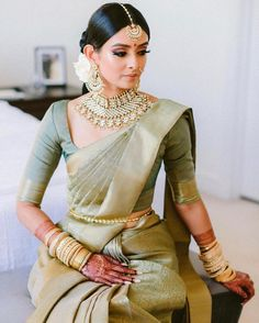 Tie The Thali Media Inc. (@tiethethali) posted on Instagram • Jan 2, 2021 at 5:23pm UTC Indian Bride Dresses, South Indian Wedding Saree, Indian Bridal Sarees, South Indian Sarees, Indian Bridal Outfits, Indian Bridal Fashion, Indian Fashion Dresses, Indian Wedding Outfits, Saree Wedding