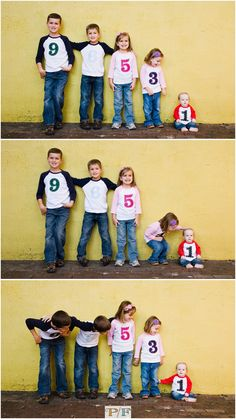Sibling Photo Idea @Hayley Croft so cute with ages on their shirts!!!