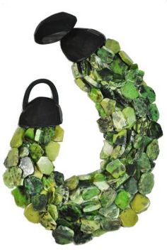 green & black inspiration for color washing or painting bed; green grassular garnet stones, black leather and wood clasp