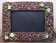 Dark Brown & Cream Picture Frame With White Flowers by Gothbunny