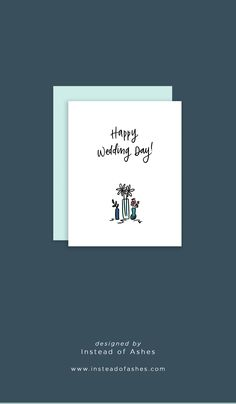 A cute floral greeting card designed by Instead of Ashes. Wedding Card Design, Wedding Designs, Wedding Cards, Blue Wedding, Wedding Colors, Wedding Flowers, Hearty Congratulations, Happy Wedding Day, Wedding Stationery