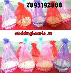 Netted potli baskets # decorative baskets.Code: WH P 002.Sizes, colours, models variable.(Bulk orders only Moq 25).Best for return gifts.