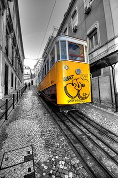 lovely yellow and white tram in Lisbon