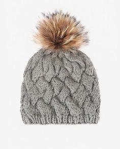 4b1a4ed314a ANNABELLE New York Fur Pom Cross Stitch Knit Hat  Grey  Topping the cross  stitch