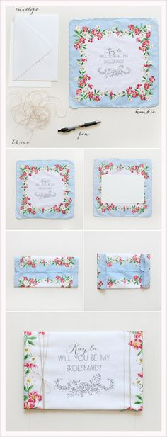 simple how to - will you be my bridesmaid hankies