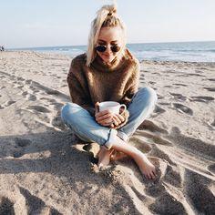 Beach mornings // cup of coffee