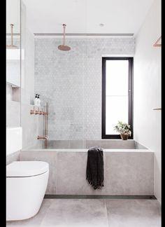 concrete bathtub and tile backsplash in modern sydney bathroom via inside out magazine. / sfgirlbybay concrete bathtub and tile backsplash in modern sydney bathroom via inside out magazine. Bathroom Goals, Bathroom Inspo, Bathroom Ideas, Bathroom Designs, Bathroom Grey, Bathroom Mirrors, Bathroom Organization, Bathtub Ideas, Bathroom Marble