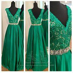 Elegant Long Evening Dress 2015 V neck Sleeveless Applique Beading Belt Floor Length Emerald Green Formal Dress-in Evening Dresses from Weddings & Events on Aliexpress.com | Alibaba Group