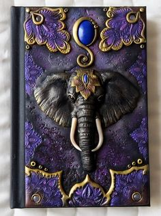 Elephant, polymer clay journal, polymer cover, lapis lazuli, 200 blank pages Polymer Clay Canes, Polymer Clay Miniatures, Polymer Clay Projects, Handmade Polymer Clay, Polymer Journal, Diy Notebook Cover, Biscuit, Old Book Crafts, Sketchbook Cover