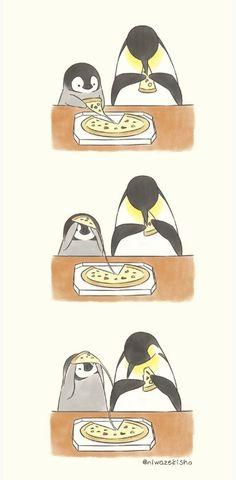 My favourite things! Pizza and Penguins Penguin Drawing, Penguin Cartoon, Penguin Art, Penguin Love, Cute Penguins, Cute Kawaii Drawings, Cute Animal Drawings, Penguin Pictures, Cute Pictures
