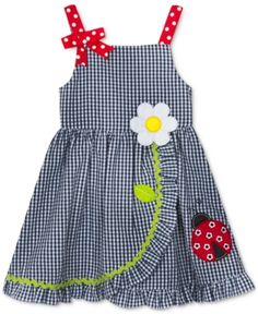 Rare Editions Little Girls Ladybug Wrap-Front Dress - Blue Best Picture For little girl dresses b Baby Girl Dress Patterns, Little Girl Dresses, Girls Dresses, Baby Dresses, Peasant Dresses, Dress Girl, Infant Dresses, Bridesmaid Dresses, Little Girl Fashion