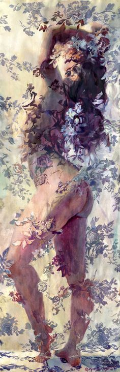 "Saatchi Art Artist: Sergio Lopez; Gouache Painting ""Della Reese""... This is so gorgeous . It portraits the femininity of women through the flowers around the hidden body: hidden so women keeps its innocence, its delicacy,but showing enough to be edgy,daring: true way to represent modern women, in my opinion."