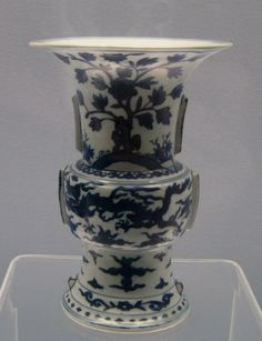 Ming Dynasty Wanli Reign circa 1573-1620. Blue and White Vase With Dragons. Shanghai Museum.