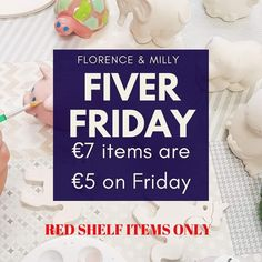 FIVER FRIDAYS ARE BACK!!! All red shelf items that are normally 7 per item are available on Fridays for just 5 per item!! #afterschoolfun #irishmums #fiverfridays #afterschoolart #art #florencenmilly #potterypainting #clane #artsandcrafts #coffee #primaryschool #secondaryschool #teen #parents #irishmummy #ceramics #pottery #watercolours #craft #parties #summercamp #easterartcamp #halloweencamp #kildare #artcamp #clay #autismfriendly #coffeebar #makingmemories #kidsart