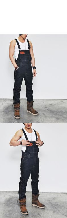 Bottoms :: Indigo Rigid Suspender Denim Overall-Jeans 119 - Mens Fashion Clothing For An Attractive Guy Look