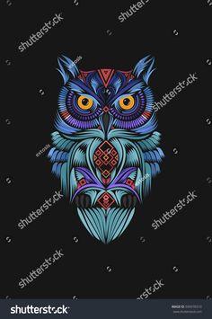 Owl line & shape art, color full.