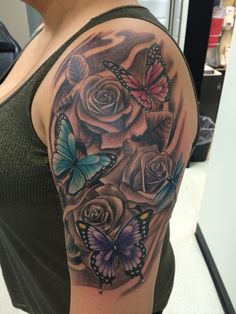 Tattoo Designs For Women Sleeve, Flowers and butterflies FlowerTattooDesigns Fl. - Tattoo Designs For Women Sleeve, Flowers and butterflies FlowerTattooDesigns Flower - Butterfly With Flowers Tattoo, Butterfly Tattoo On Shoulder, Butterfly Tattoo Designs, Shoulder Tattoos, Tattoo Designs For Women, Butterflies, Half Sleeve Tattoos Drawings, Tattoos For Women Half Sleeve, Women Sleeve