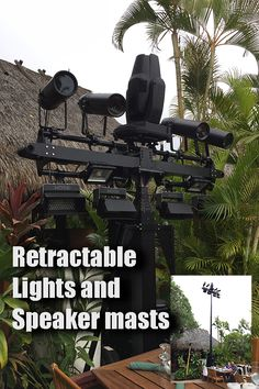 A new sleek way to add lighting/speaker/cameras to your outdoor venue or restaurant! It retracts when not in use, extends 20-30 feet by remote control. Multiple units can be synchronized, or operate independently. Questions? info-us@serapid.com