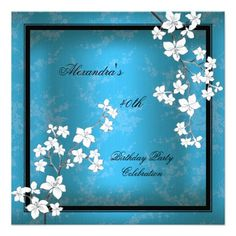 Asian Teal Black Blossom White Birthday Party Custom Announcements