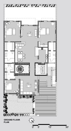 Gallery of Twin Courtyard House / Charged Voids - 18 Model House Plan, Dream House Plans, Small House Plans, Bungalow Floor Plans, House Floor Plans, 30x50 House Plans, Hotel Floor Plan, Indian House Plans, Courtyard House Plans