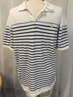 Banana Republic Pop Star Polo White Blue Striped Casual Shirt Men's Sz Large New | eBay