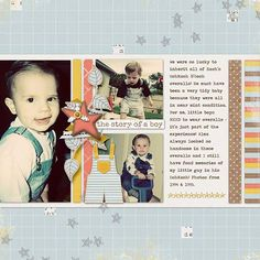 Layout by Katie. Supplies: Boy Stories by River~Rose Designs; Template by Jenn Lindsey (altered) Font: Traveling Typewriter; Pioneer Woman Seventies photo action.