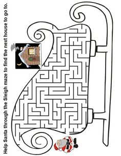 Christmas Maze: Help Santa through the sleigh maze to find the next house Christmas Activities For Kids, Christmas Crafts For Kids, Christmas Printables, Holiday Crafts, Christmas Maze, Christmas Colors, Colouring Pages, Coloring Books, Mazes For Kids Printable