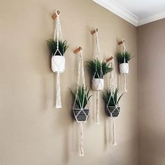 Hanging fabric plant hangers - unique way to display your indoor plants. Room With Plants, House Plants Decor, Plant Wall Decor, Hang Plants On Wall, Hanging Plant Wall, Plants On Walls, Home Plants, Corner Wall Decor, Wall Plant Holder
