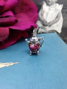 ❥ Sterling Silver Teapot Bead Charm, Black Burgundy Rose, Vintage Retro. via Etsy.