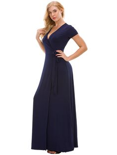 Maternity Outfits - prim maternity maxi dress : Missufe Womens Short Sleeve Maxi Slit Long Wrap Dress with Belt Navy Blue Large >>> Take a look at the photo by checking out the link. (This is an affiliate link). Maternity Maxi, Casual Maternity, Maternity Outfits, Maternity Fashion, Maxi Wrap Dress, Picture Link, Pregnancy Photos, Crossover, Street Styles