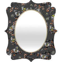 Renie Britenbucher Bees Black White Quatrefoil Mirror  #gray #black #floral