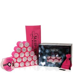 Sleep In Rollers Pink Glitter Gift Set (20 rollers, DVD plus kirby grips in iconic tote bag) $50