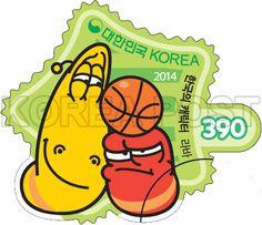 Korean-Made Characters Series Stamps (4th), lava, Korean Character, Character, Story, Red, Yellow, Green, Orange, 2014 02 28, 한국의 캐릭터 시리즈우표(네 번째 묶음), 2014년 2월 28일, 2973, 라바(옐로우와 레드4), postage 우표,