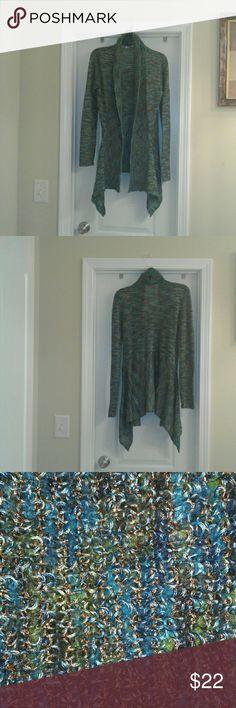 Cardigan Multi-Color Crochet Open Front Cardigan L'Origine New York Sweaters Cardigans