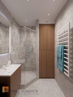 Фото: Дизайн душевой комнаты - Интерьер однокомнатной квартиры в современном стиле, ЖК «Царская столица»
