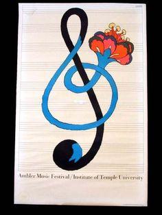 Une clef de sol qui donne envie de décoller...  / By Milton Glaser Ambler, Music Festival, 1967.