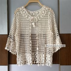 Details about Womens Ladies Open Front Short Sleeve Knitted Crochet Crop Shrug Cardigan Top Ladies Hollow Mesh Sleeve Crochet Lace Top Cape Cardigan Jacket Coat Beige Moda Crochet, Crochet Lace, Crochet Clothes For Women, Long Cardigan Coat, Shrug Cardigan, Cardigan Pattern, Crochet Capas, Chiffon Kimono, Moda Plus