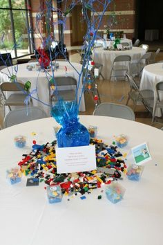 Centerpiece for LEGO themed wedding