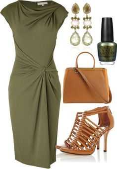 Favorite style if I had an event. Greek goddess wrap dress, beautiful olive, neutral cage shoes, dark polish, and elegant earrings.