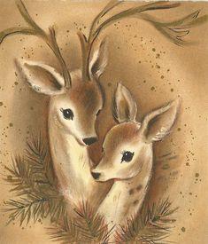 Vintage Christmas Deer Card Source by ansteypins Vintage Christmas Images, Christmas Deer, Christmas Past, Christmas Animals, Retro Christmas, Vintage Holiday, Christmas Pictures, Christmas Greetings, Illustration Noel